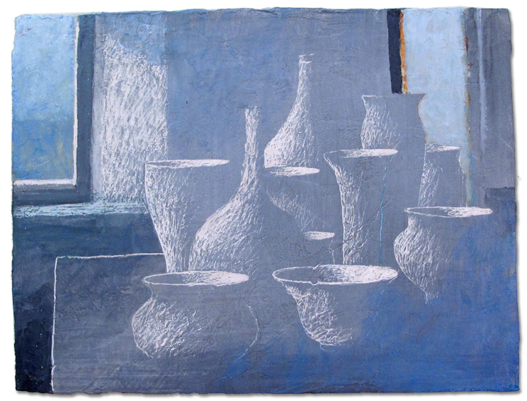 Blue Vessels - 22 x 28cm - mm on board